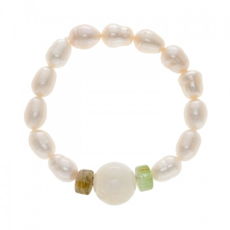 8.0-9.0mm Freshwater Pearl Bracelet with Prehnite