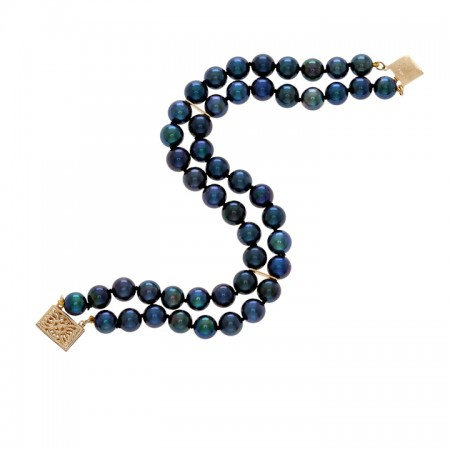 6.0-6.5mm Japanese Akoya Black Pearl  Bracelet